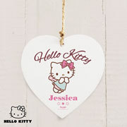 Personalised Hello Kitty Fairy Wooden Heart Decoration