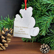 Personalised Metal Teddy Tree Decoration