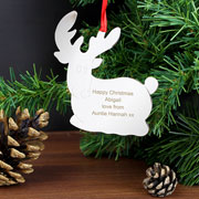 Personalised Metal Reindeer Christmas Tree Decoration