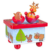 Wooden Reindeer & Robin Music Box