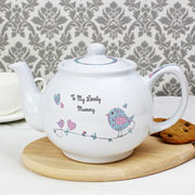 Personalised China Floral Bird China Teapot