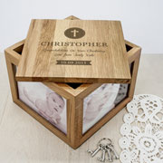 Personalised Christening Communion Oak Photo Keepsake Box