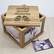 Personalised Baby Shoes Oak Photo Keepsake Box