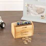 Personalised Wooden Train Money Box