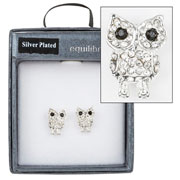Wise Owl Crystal Stud Earrings