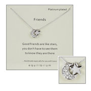 Platinum Plated Friends Moon & Star Sentiment Necklace