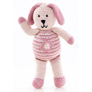 Pebble Organic Fair Trade Knitted Pink Bunny with Flower