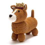 Crochet Corgi Dog With Crown Soft Toy