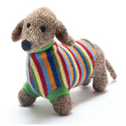 Large Knitted Sausage Dog in a Jumper Soft Toy