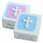 Wooden Personalised Cross Trinket Box Pink or Blue