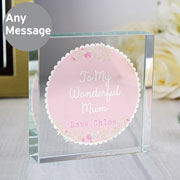 Personalised Scalloped Floral Crystal Token Mummy Grandma