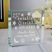 Twinkle Twinkle Personalised Crystal Engraved Baby Token