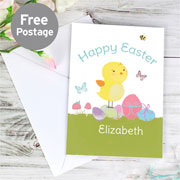 Personalised Easter Meadow Chick Card - Free Delivery