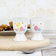 Personalised Easter Meadow Chick Ceramic Egg Cup