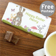Personalised Easter Meadow Bunny Chocolate Bar Free Delivery