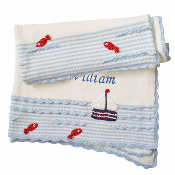 Boy's Personalised Embroidered Knitted Boat Cot Blanket