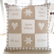 Personalised Embroidered Natural Memory Cushion