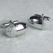Solid Pewter & Silver Acorn Cufflinks by Glover & Smith