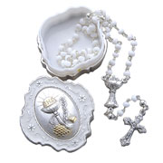 First Holy Communion Glass Rosary with Metal Keepsake Box