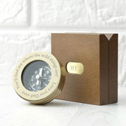 Personalised Brass Travellers Compass in Wooden Box