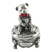 Pewter Teddy in a Bow Tie Victorian Base Tooth Box