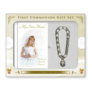 Girls First Communion Gift Set with Rosary Bracelet