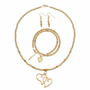 Rose Gold Double Heart Personalised Prom Jewellery Set