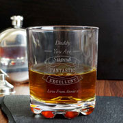 Engraved Vintage Typography Whisky Glass