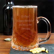 Engraved Cut Glass Pint Crystal Tankard