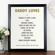 Daddy/Mummy Loves Personalised Poster Frame