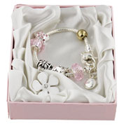Silver and Gold Special Flower Girl Charm Bracelet