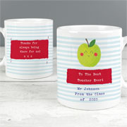 Happy Apple Personalised Slim Teacher Mug