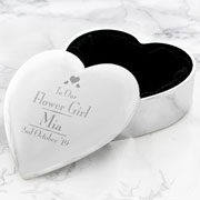 Personalised Decorative Flower Girl Heart Trinket Box