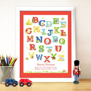 Personalised Animal Alphabet White Poster Baby Frame