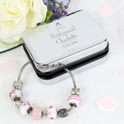 Bridesmaid Charm Bracelet in Engraved Silver Box