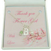 Thank You Bridesmaid/Flower Girl Initial Birthstone Necklace