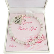 White Cats Eyes Flower Girl Heart Bracelet