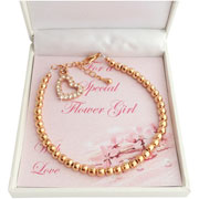 Rose Gold Flower Girl or Bridesmaid Bracelet