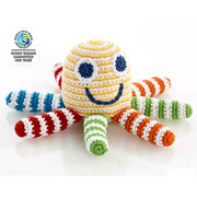 Pebble Fair Trade Yellow Crochet Octopus Baby Rattle