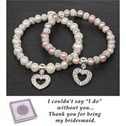 Silver Plated Stretch Bridesmaid Heart Bracelet