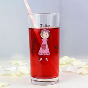 Personalised Cartoon Wedding Young Lady Hi-Ball Glass