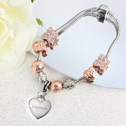 Personalised 18cm Rose Gold Charm Name Bracelet