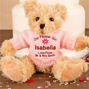 Personalised Flower Girl Blonde Teddy Bear