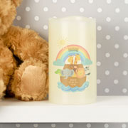 Personalised Noah's Ark LED Baby Candle Night Light Gift