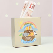Personalised Noah's Ark Square Silver Christening Money Box