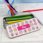 Personalised Summer Owl Colouring Pencil Tin and Pencils