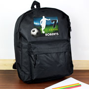 Personalised Team Player Football Black Backpack