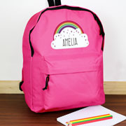 Personalised Rainbow Pink Backpack Bag
