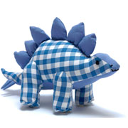 Natural Zoo Cotton Stegosaurus Blue Gingham Soft Toy