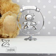 Personalised Silver Plated Crystocraft Teddy Bear Ornament